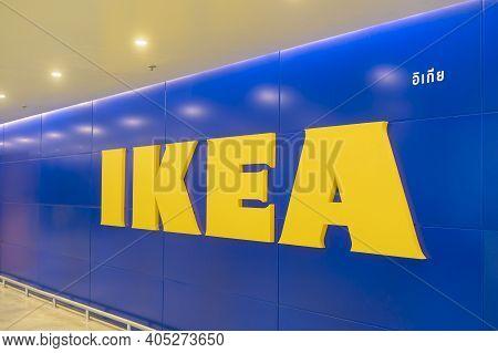 Bangkok, Thailand - 24 January 2021 ; Background Of Ikea Logo At Ikea Store In Thailand