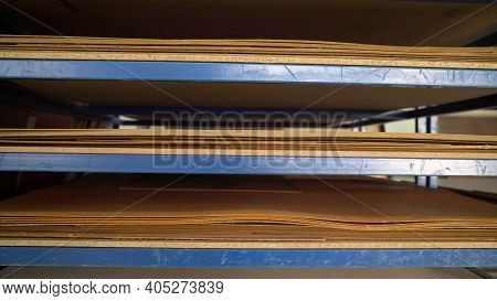 Shelves With Material For Furniture Production. Wood For The Manufacture And Construction Of Furnitu