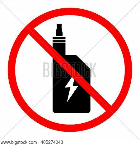 Electronic Cigarette Ban Icon. Smoking Is Prohibited. Stop Or Ban Red Round Sign With Electronic Cig