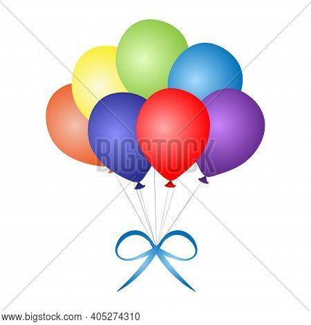 Colorful Bunch Of Festive Balloons. Birthday Baloons For Party And Celebrations. Isolated On White B