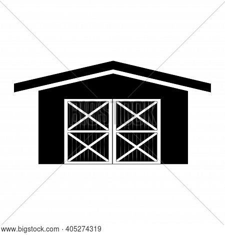 Farm Barn Silhouette Illustration Isolated On White Background. Vector.