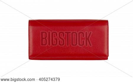 Red Leather Women's Wallet Isolated On White Background With Clipping Path.