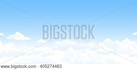 Heavenly Background. White Clouds In The Blue Sky. Abstract Background With Clouds On The Blue Sky.