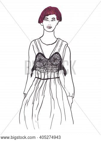 Fashion Catwalk Hand Drawn Marker Poster. Woman With A Short Haircut And Lace Fancy Dress Artisitc I