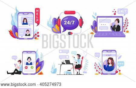Customer Support Cartoon Set. Client Service. Call Center, Online Feedback, Helpline.