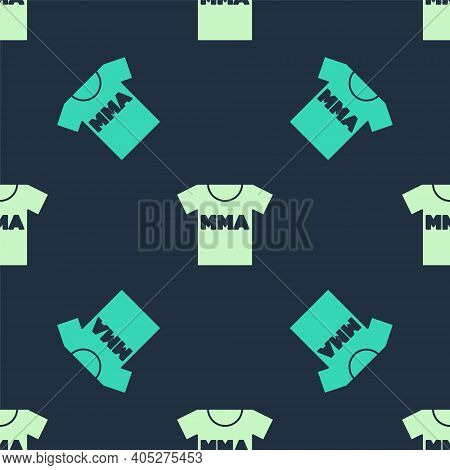 Green And Beige T-shirt With Fight Club Mma Icon Isolated Seamless Pattern On Blue Background. Mixed