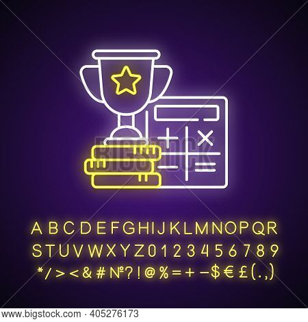Odds Calculator Neon Light Icon. Betting Converter. Wagers Profit. Calculating Winnings. Outer Glowi