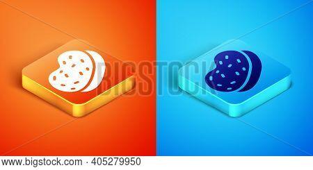 Isometric Bath Sponge Icon Isolated On Orange And Blue Background. Sauna Sponge. Vector