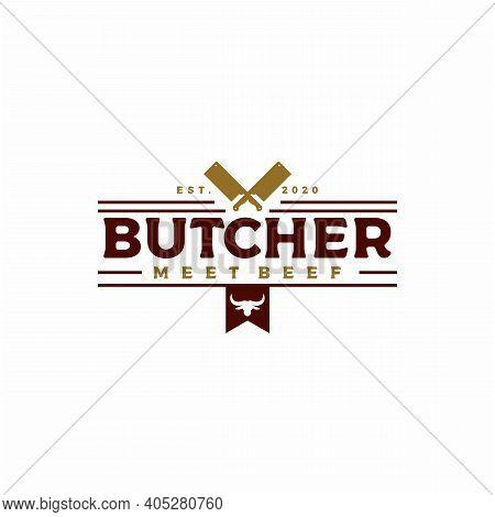 Vintage Retro Crossed Cleavers For Butcher Shop Label Logo Design