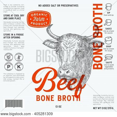 Beef Bone Broth Label Template. Abstract Vector Food Packaging Design Layout. Modern Typography With