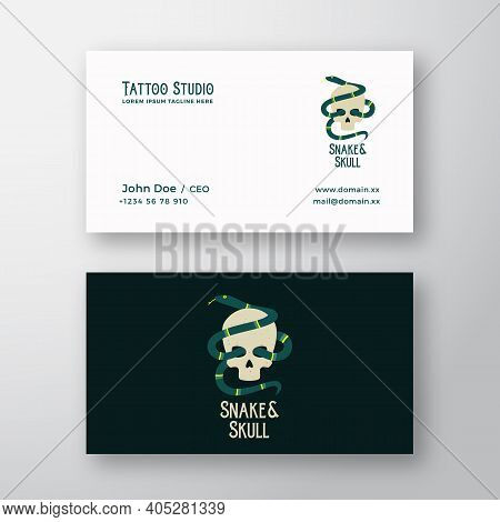 Snake And Skull Abstract Modern Vector Logo And Business Card Template. Tattoo Studio Flat Style Ill