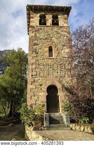 Santa Maria De Lebena Small Hermitage In Vega De Liebana, Cantabria, Spain. It Was Constructed In 92