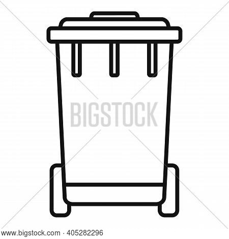 Biohazard Garbage Cart Icon. Outline Biohazard Garbage Cart Vector Icon For Web Design Isolated On W