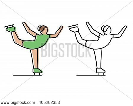 Figure Skating. Figure Skater Skates. Vector Icons In Flat Style