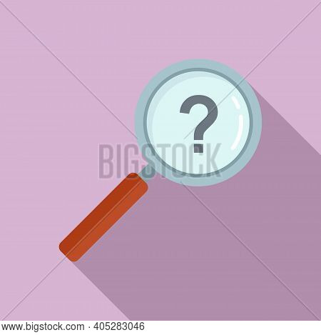Investigator Question Magnifier Icon. Flat Illustration Of Investigator Question Magnifier Vector Ic