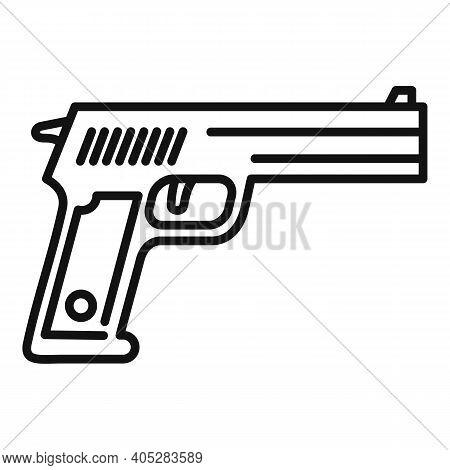 Investigator Pistol Icon. Outline Investigator Pistol Vector Icon For Web Design Isolated On White B