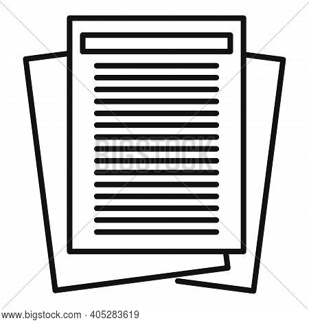 Investigator Documents Icon. Outline Investigator Documents Vector Icon For Web Design Isolated On W