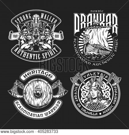 Vintage Viking Labels With Bearded Strong Nordic Warrior Pretty Valkyrie Drakkar Ship Battle Axes An