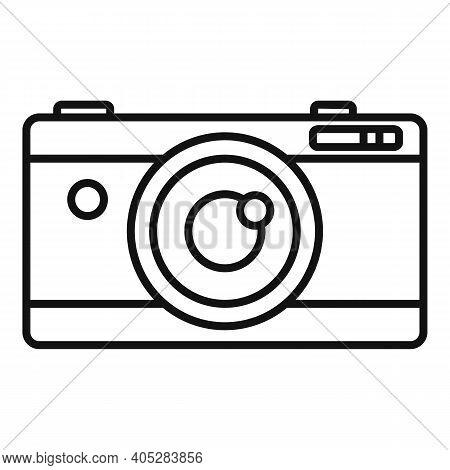 Investigator Camera Icon. Outline Investigator Camera Vector Icon For Web Design Isolated On White B