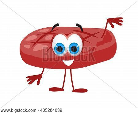Funny Roast Cutlet On White Background, Funny Character Collection, Flat Vector Illustration