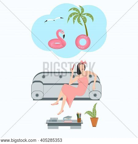 Fashion Designer Sitting At Home On The Couch, Teleworking, Dreaming Of A Vacation At Sea, Palm Tree