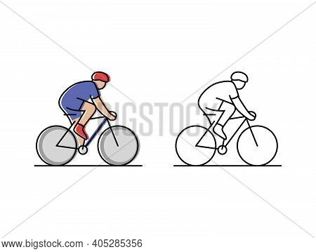 Cycling. Cyclist Rides A Bicycle. Vector Icons In Flat Style