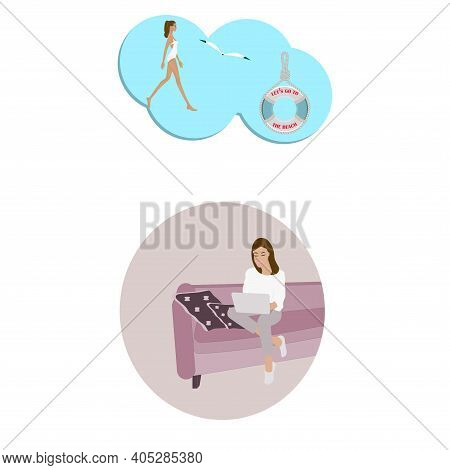 Woman Sitting At Home On The Couch, Teleworking, Dreaming About A Vacation At Sea - Vector. Travel P