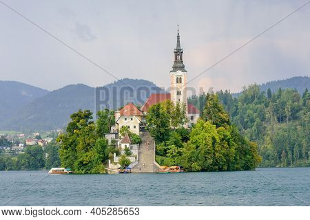Lake Bled With St. Marys Church Of Assumption On Small Island. Bled, Slovenia, Europe. Mountains And
