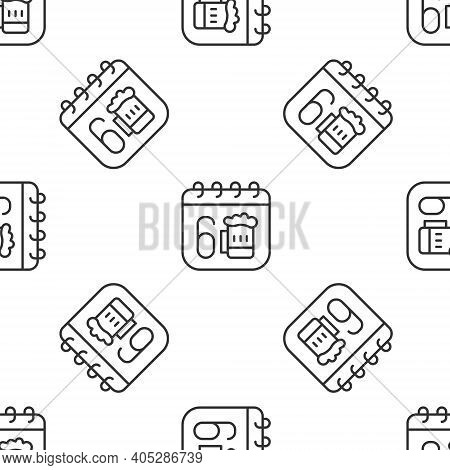 Grey Line Saint Patricks Day With Calendar Icon Isolated Seamless Pattern On White Background. Four