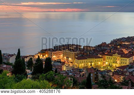 Panoramic View Of Adriatic Sea And City Of Piran In Istria, Slovenia. \npiran Is One Of Slovenia\'s