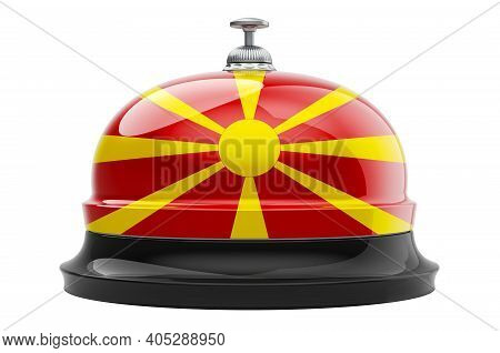 Reception Bell With Macedonian Flag, 3d Rendering Isolated On White Background