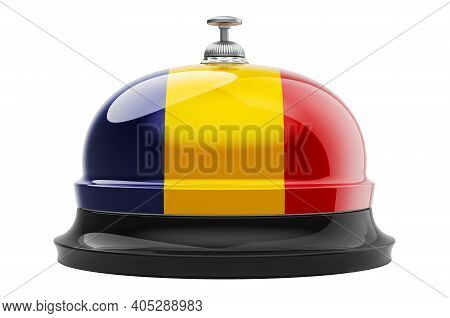 Reception Bell With Romanian Flag, 3d Rendering Isolated On White Background
