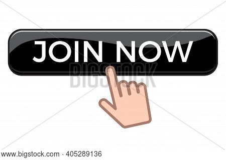 Hand Clicking Join Us Button Isolated On White Background. Flat Vector Illustration