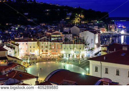 Piran, Slovenia - September 20, 2016: Night View Of Tartini Square In The Historic Centre Of Piran.