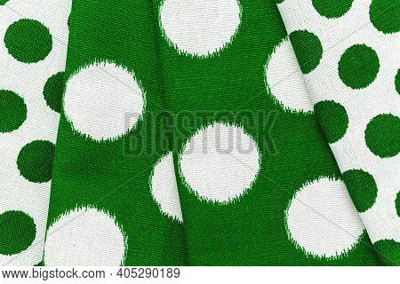 Green Checkered Fabric Closeup , Tablecloth Texture, Close Up.
