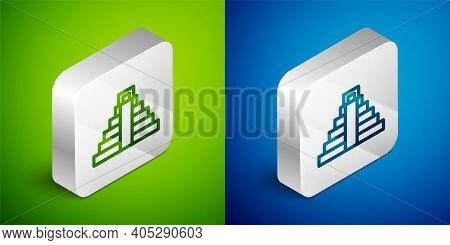 Isometric Line Chichen Itza In Mayan Icon Isolated On Green And Blue Background. Ancient Mayan Pyram