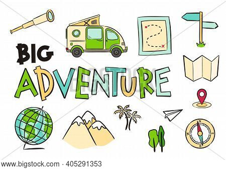 Set Of Hand Drawn Travel Icons. Pictograms Of Globe, Compass, Map, Route, Mountains, Navigation, Spy
