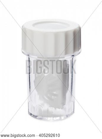 Container for soft contact lenses isolated on white background
