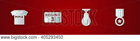 Set T-shirt With Fight Club Mma, Boxing Ring Board, Punching Bag And Medal Icon. Vector