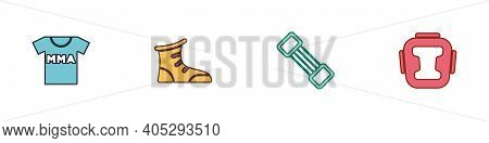 Set T-shirt With Fight Club Mma, Sport Boxing Shoes, Chest Expander And Boxing Helmet Icon. Vector