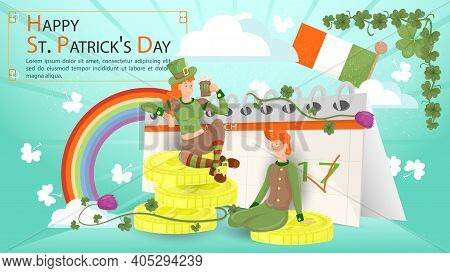 Flat Illustration Of A Banner For Decorating Designs, On The Theme Of The St. Patricks Day Holiday,