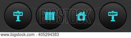 Set Hanging Sign With Sale, Garage, House Shield And Rent Icon. Vector