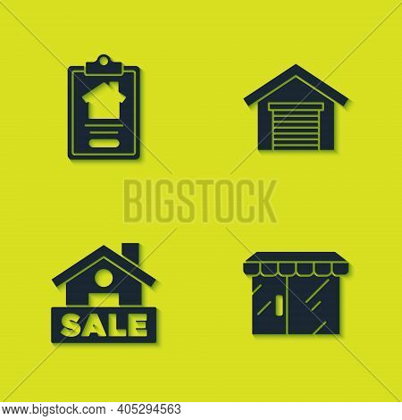 Set House Contract, Market Store, Hanging Sign With Sale And Garage Icon. Vector