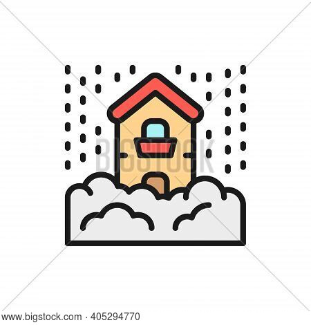 Snowfall, Snow, Natural Disaster, Catastrophe Flat Color Line Icon.