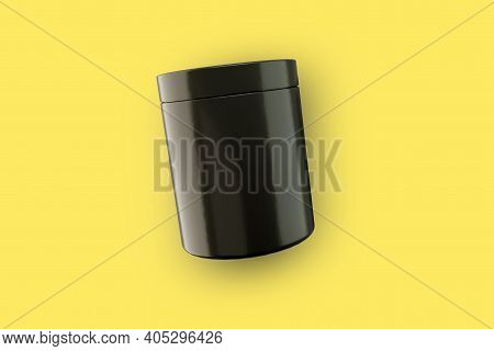 Black Realistic Glass Jar. Sport Nutrition Container Without Label. Cosmetic Container With Glossy L