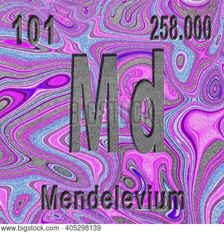 Mendelevium Chemical Element, Sign With Atomic Number And Atomic Weight, Purple Background, Periodic