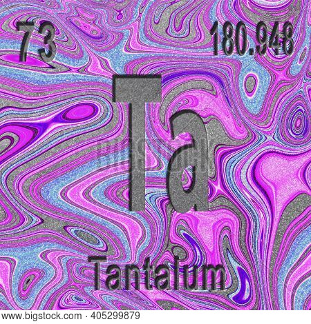 Tantalum Chemical Element, Sign With Atomic Number And Atomic Weight, Purple Background, Periodic Ta