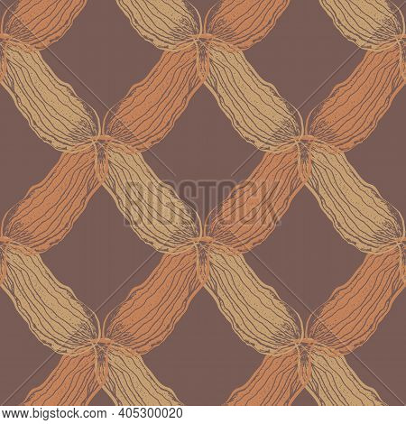 Vector Braid Effect Damask Weave Seamless Interlace Pattern Background. Backdrop With Woven Style Ya
