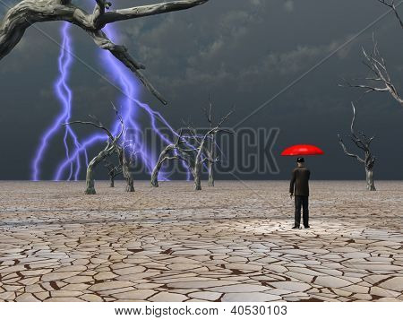 Man takes in storm protected under umbrella