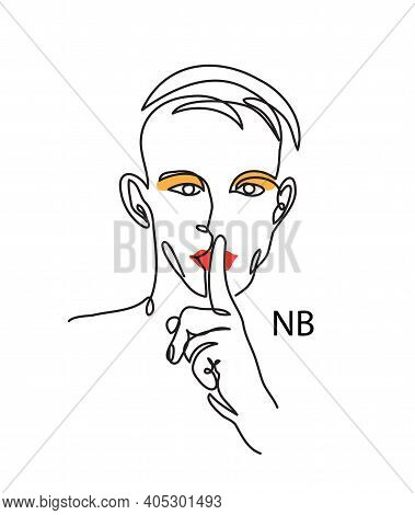 Nonbinary, Enby, Nb Person Concept. Man With Make Up And Shh Gesture. Simple Vector Illustration, Ma